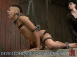 Sexy Ebony Slave Locked Up And Whipped In Bondage