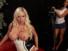 Bimbo Blond In Latex Underware Screwed As Her Allies See